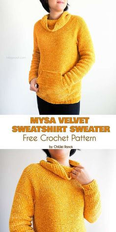 This ultra comfortable sweater is coziness embodied. This pattern is easy to make, and yields a beautiful, warm and soft-to-the-touch sweater perfect for those Crochet Hoodie, Crochet Cardigan, Crochet Yarn, Crochet Crafts, Free Crochet, Crochet Sweaters, Crochet Shrugs, Simple Crochet, Hoodie Pattern