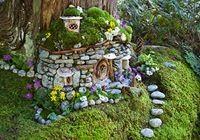 whole lot of fairy house ideas...