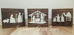 Wooden Christmas bookshelf sign, set of 3 Nativity scene,  solid wood free standing signs, winter home decor