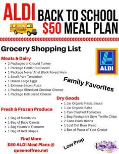What 5 Dinners and a HUGE brunch for less than 50 Check out an ALDI Back to School Meal Plan with quick ideas a free printable grocery list and Frugal Meals, Cheap Meals, Budget Meals, Freezer Meals, Inexpensive Meals, Budget Recipes, Easy Meals, Easy Budget, Weeknight Recipes