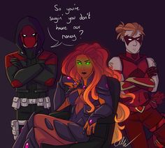"""""""Everyone knows not to mess with the Outlaws. """" Joyfire Week: Prompt/Day Villain AU/Controlled by Villain // Sleep Deprivation << Have I mentioned that I LOVE Joyfire? Nightwing, Batgirl, Batwoman, Teen Titans, Damian Wayne, Redhood And The Outlaws, Red Hood Jason Todd, Bat Boys, Batman Universe"""