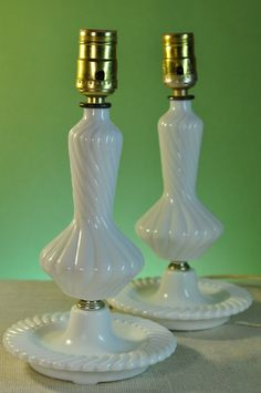Vintage Milk Glass Elegant Table Lamps One by ClassicCabin on Etsy