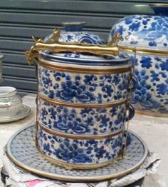 Blue + white Peranakan style tiffin carrier.