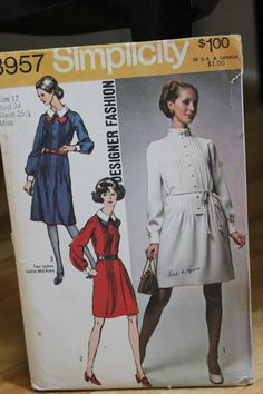 Vintage Pattern 70s Simplicity 8957 1970 Misses Simplicity 8957 1970 Misses One-Piece Dress ... Designer Fashion Size 12