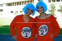 Homemade Thing 1 and Thing 2 Costumes: There have been many a Thing 1 and Thing 2 costumes, but we wanted to do something that was cool yet comfortable since we live in Hawaii...