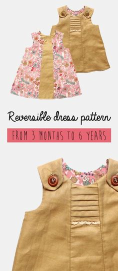 Kikoi easy PDF patterns for girls toddlers and babies: Reversible dress pattern - easy sewing project for girls several good sewing patterns for toddlers Beginner Sewing Patterns, Sewing Patterns For Kids, Easy Sewing Projects, Sewing For Kids, Baby Sewing, Free Sewing, Pdf Patterns, Sewing Ideas, Sewing Crafts