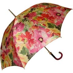 Pasotti Modern Floral Umbrella This model features a cheery all-over floral print, sure to brighten any rainy day. Push-button automatic opening and manual closing umbrella with a sturdy hexagonal shaped steel shaft and ferrule with acrylic tip. Button-tie closure and curved black to pink to clear acrylic handle. Made in Italy. Was: CAD $95.00 Now: CAD $50.00 http://www.raindropsto.com/umbrellas/designer-umbrellas/pasotti-modern-floral-umbrella