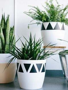 Pop Up Greens Lightweight Hand Painted Pots - Triangle Planters