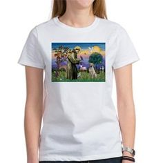 Saint Francis blesses a Yellow Lab - women's t-shirt.  Designed by the  winner of the 2016 International Book Award (in the Animals/Pets category) for the book:  DOGS:  A Kids Book of Dog Breeds now on Amazon.    Lots of other products and breeds are available.  Come look!