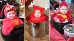 I can't forget this one - my first child MUST be a lobster n  pot for Halloween: These tots are frightfully adorable!