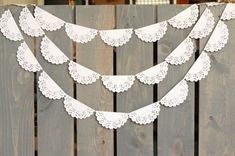 bridal shower decorations 698620960919752325 - White Lace Scallop Paper Doily Sewn Garland – Wedding Garland, Bridal Shower, Photo Backdrop, Baby S. Blush Bridal Showers, Bridal Shower Photos, Elegant Bridal Shower, Paper Doily Crafts, Doilies Crafts, Doily Wedding, Garland Wedding, Paper Doilies Wedding, Doily Garland