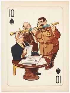 Propaganda posters of World War II Joseph Stalin, Franklin Roosevelt, Winston Churchill, World War Ii, Ww2, Playing Cards, Cigar, Sword, Conference