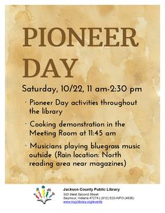 THIS PROGRAM HAS EXPIRED - Come see the demonstrations of how things were done in Pioneer times!