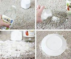 """DIY - HOW TO GET RID OF PET STAINS ON CARPET!  Always """"SHARE"""" with friends and family!  Use good old vinegar and baking soda. The steps are the important part. Pour enough vinegar to soak the stain and THEN add a small amount of baking soda. If you do the reverse, you will have a noisy, bubbly mess. Do it the right way, and you can hear the recipe cackling away, telling you how it is cleaning and deodorizing without leaving any residue. You need to let the spot dry for a day or two before…"""
