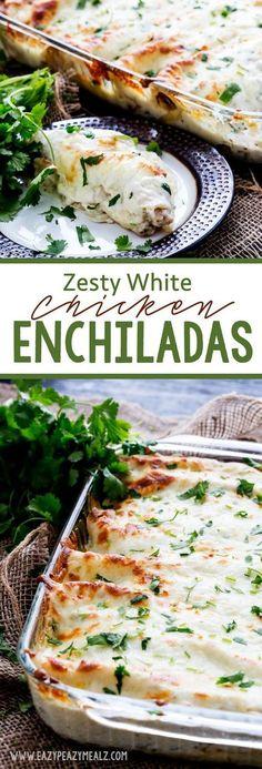Zesty White Chicken Enchiladas with a zesty secret ingredient that makes them so yummy! - @easypeazymealz