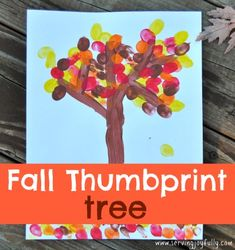 Fall Thumbprint Tree at Serving Joyfully, a great way for your kids to be creative and have fun together (a craft that is not frustrating! Leaf Crafts, Tree Crafts, Fall Crafts, Thanksgiving Crafts, Fun Activities For Kids, Autumn Activities, Crafts For Kids, Daycare Crafts, Fall Preschool