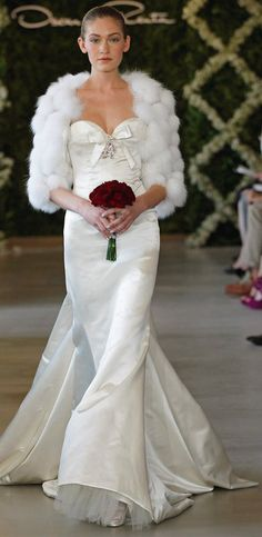 Oscar de la Renta Bridal 2013 ~  White Chantilly lace and fox bolero