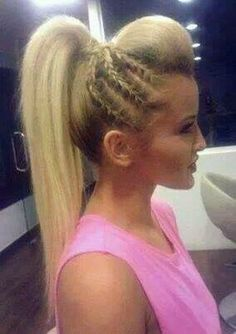 Bouffant with Dutch Braid on the Side into a High Sleek Ponytail
