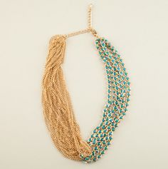 Gold and Blue Stone Twist Necklace
