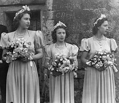 The Princess Elizabeth (later Queen Elizabeth II), The Princess Margaret, and Princess Alexandra of Kent as bridesmaids at the wedding of the Hon. Patricia Mountbatten and Lord Brabourne, 1946.