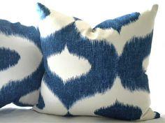 Ikat Decorative pillow cover, Ikat blue and white print 18 x 18 via Etsy