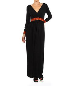 Tribal black surplice maxi dress
