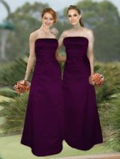 PLUM PURPLE SATIN FORMAL BRIDESMAID PROM PARTY WEDDING GOWN DRESS 6-20 IN STOCK