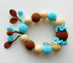 Baby teether Baby Toy Rattle Crochet Wood teether от MioLBoutique, $17.00