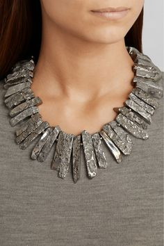 Kenneth Jay Lane | Rhodium-plated necklace | NET-A-PORTER.COM