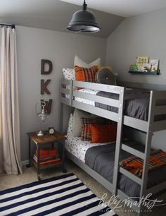 10 Awesome Boy's Bedroom Ideas - great for when the boys are old enough to share a room!