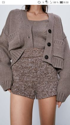 Lazy Outfits, Winter Outfits, Winter Clothes, Ribbed Cardigan, Knit Shorts, Daily Look, Lounge Wear, Knitwear, Zara