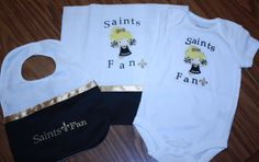 Babys'  Set Onsie, Bib and Burp cloth with applique cheerleader and team saying!