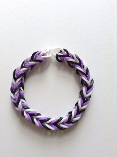 Purple White and Black Fishtail Rubber Band by CutiePieBracelet