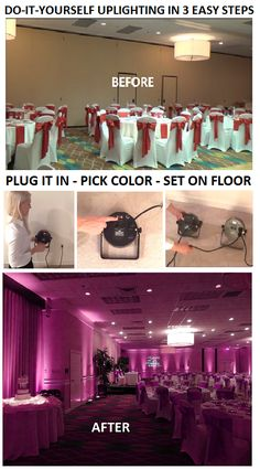 Wedding Reception Do-It-Yourself Uplighting in 3 Easy Steps! Pick A Color. Set on Floor, Up Against Wall YOU'RE DONE! Rent uplighting to transform any venue in a matter of minutes! No experience required. Wedding Reception Ideas, Wedding Receptions, Uplighting Wedding, Diy Reception Decorations, Wedding Decor On A Budget, Quince Decorations, Wedding Ceremony, Decoration Evenementielle, Dream Wedding