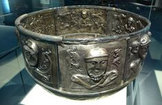 Gundestrup, Denmark. 150-0 BC   This cauldron is made from 13 silver plates. The hammered and gilded plates weigh almost 9 kg. On the outside, large deities are accompanied by small humans, animals and mythical creatures in pairs. Interior shows scenes populated with many figures, both human and animals. One of them shows a parade of warriors carrying a carnyx, a Celtic trumpet.   Kunst der Kelten, Historisches Museum Bern. Art of the Celts, Historic Museum of Bern.