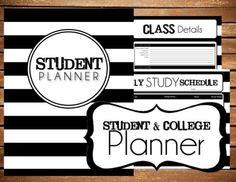 Instant Download - Student - College Planner B&W Stripe Printable Planner Organizer  - (Organized Family Binder)