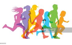 Colourful overlapping silhouettes of children running. Medicine Packaging, Sports Day, Free Illustrations, School Fun, Elementary Schools, Running, Children, Creative, Artist