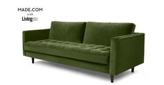 Scott 3 Seater Sofa, Grass Cotton Velvet. Gorgeous and affordable. Looks like I've found my new sofas.