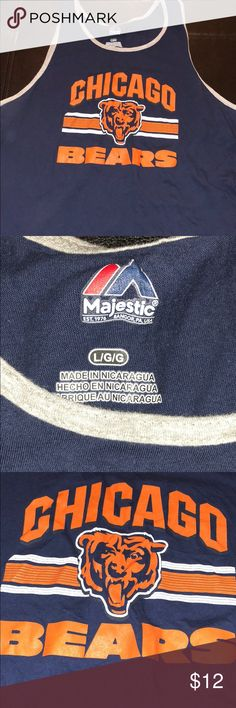 Majestic Chicago Bears sleeveless tank Majestic Chicago Bears sleeveless tank....Size Large...Blue and orange in color....Sleeveless tank....Good condition...Bin18 Majestic Shirts Tank Tops