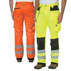 S 5XL High Visibility HI VIS VIZ Pants Polycotton Trousers Work Reflective