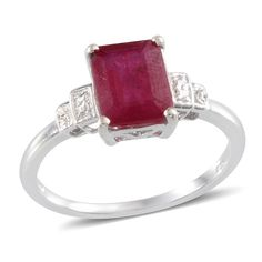 Niassa Ruby (Oct 3.60 Ct), Diamond Ring in Platinum Overlay Sterling Silver Nickel Free (Size 5) TDiaWt 0.010Cts., TGW 3.61 Cts. | Rubyniassa | Ruby | Birthstones | Promotions | Online Store | Liquidation Channel Site
