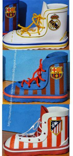 FOFUCHAS. Manualidades y Creaciones Maite: Botas porta lapices de equipos de futbol