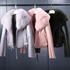 New Winter Womens Natural Lamb Fur Coat Sheep Shearling Short Jacket Overcoat Pockets PU Leather Real Fox Fur Collar Winter Jackets Women, Coats For Women, Clothes For Women, Ladies Jackets, Fur Collar Jacket, Faux Fur Jacket, Warm Coat, Winter Coat, Fur Collars