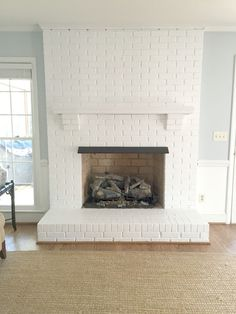 Painting Our Brick Fireplace White Painted brick! Paint color on wall is Palace Pearl by Benjamin Moore. Fireplace is a semi gloss white with just a little sheen- Home of Emily A. Painted Brick Fireplaces, Paint Fireplace, White Fireplace, Fireplace Design, Fireplace Mantels, Fireplace Ideas, Paint Brick Fireplace White, Brick Fireplace Decor, White Mantle