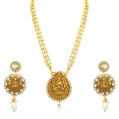 Marvellous Laxmi Temple Gold Plated Necklace Set For Women #GoldColourJewellery  #GoldColourJewelleryonline  #GoldColourJewellerySet  #GoldColorJewellery  #GoldColorJewellerySets  #Goldcolorjewelry  #Goldcolourjewelry  #goldcolornecklace