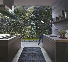 Dont like carpets in a kitchen.. but the windows, the vertical garden and the concrete are lovely.