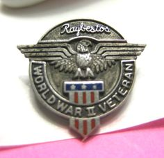 World War 2 Veterans Pin WWII Eagle Red White Blue Flag Raybesto Sterling Silver