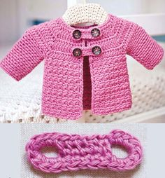 Crochet For Children: Buttoned Baby Jacket - Free Pattern                                                                                                                                                                                 More