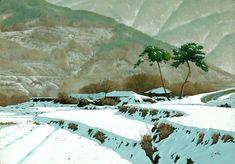 여름에는 겨울그림감상으로 피서를 대신 Pen And Watercolor, Watercolor Landscape, Jamie Wyeth, Beautiful Pictures, Environment, Animation, Snow, Painting, Outdoor