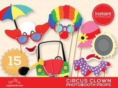 No creepy clowns here! Start clowning around in your photobooth with my fun set of Circus Clown Props. This is a DIY printable set of props -